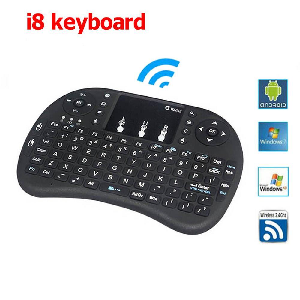 Русско-английский испанский 2.4 ГГц Беспроводной I8 Клавиатура Тачпад i8 клавиатуры 4 версии для Android ТВ коробка воздушного Мышь PS3 ПК