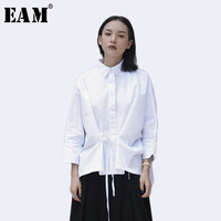 EAM 2017 New Autumn Lapel Long Sleeve Solid Color White Loose Bandage Bow Shirt Women