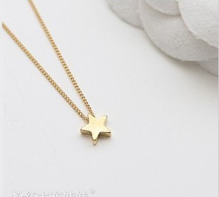 40c48b3ca24b5c Simple Designer Gold Plate Chain Star Pendnat Necklaces, Gold Star Necklace  Pendant, Long Link