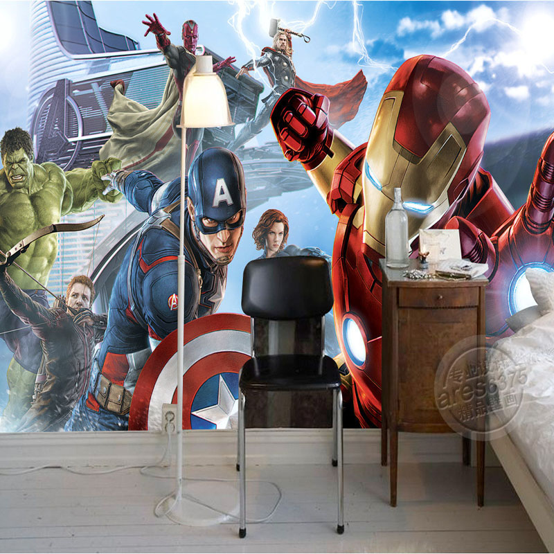 Avengers Boys Bedroom Photo Wallpaper Custom 3D Wall Murals Marvel Comics Wallpaper Children's Room Interior Design Room Decor
