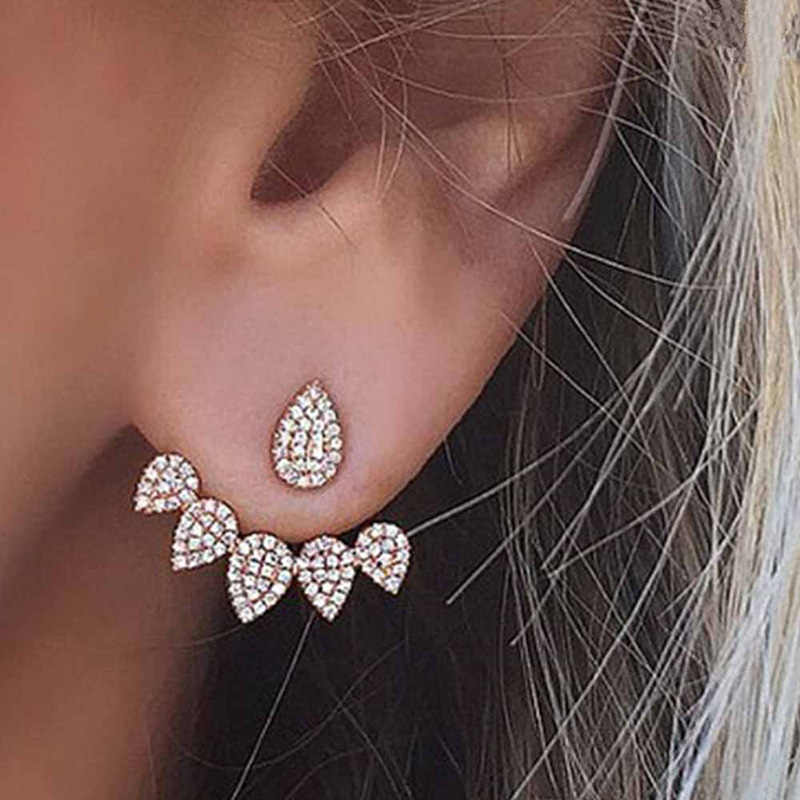 Water Drop Crystal Stud Earrings For Women Gold Color Double Sided Fashion Jewelry Flower Earrings Female Ear Brincos Pendientes