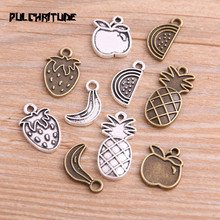 20PCS 5 Style Two Color Pineapple Banana Apple Strawberry Charms Fruit Pendant Jewelry Metal Alloy Jewelry Marking