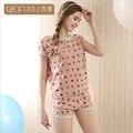 Qianxiu womenshort ternos conjuntos de pijama impressão feminino verão de algodão o-pescoço sleepwear para as mulheres