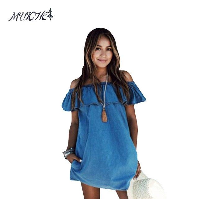 Muiches2017 винтажные Для женщин оборками Элегантный Джинсы для женщин платье с открытыми плечами Повседневное синий короткий Для женщин Летняя Пляжная Вечеринка джинсовые платья