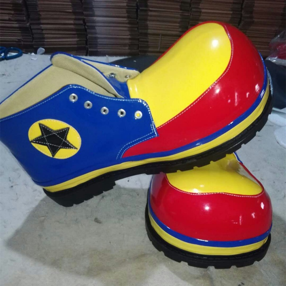 3 Styles PU Cute Clown Shoes Funny Round Head Shoes For Adults Halloween Cosplay Carnival Shoes Magician Accessories Magic Party
