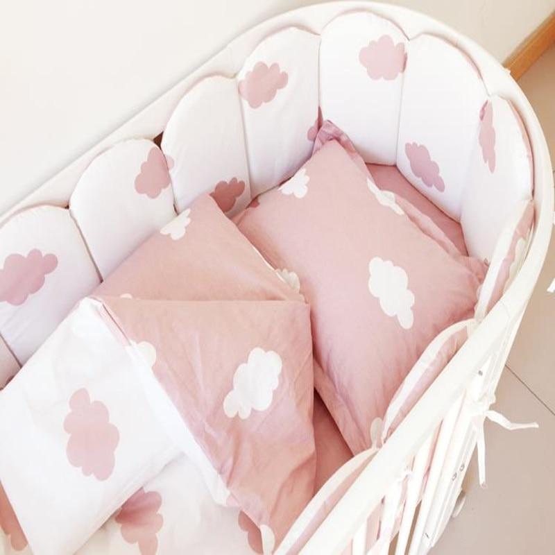 Baby Bedding Set Bumper 100% Cotton Washable Cot Bumper Newborns Quilt Cover Flat Sheet Pillow Case Baby Bed Bedding Crib120*60