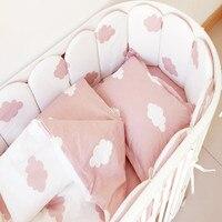 Juego de ropa de cama de bebé parachoques 100% algodón lavable cuna parachoques recién nacidos edredón funda de almohada de hoja plana cama de Bebé Ropa de cama Crib120 * 60