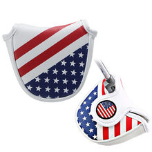 47f25413794 2018 New Golf putter cover American flag pattern mallet golf club cover  magnet closed semicircular headcover
