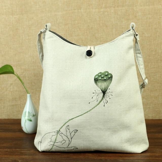 3f8be8c6cba US $18.19 35% OFF Flower Hand Painted Women Linen Canvas Shoulder Tote Bag  Ladies Casual Big Shoppers Shopping Handbag Cotton Bolsa Feminina Beige-in  ...