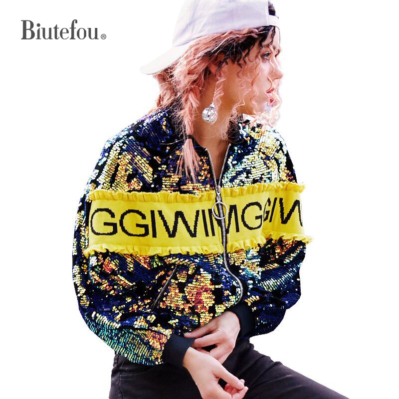 2018 Autumn fashion sequined patchwork thin coats women embroidery hip hop short jackets