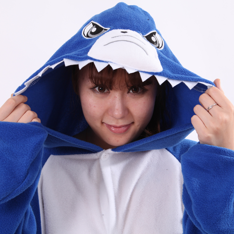New Cartoon Costumes Polar fleece Angry Shark Cosplay Pajamas Onesies Adult Women Men Winter Pyjamas Party Halloween Christmas