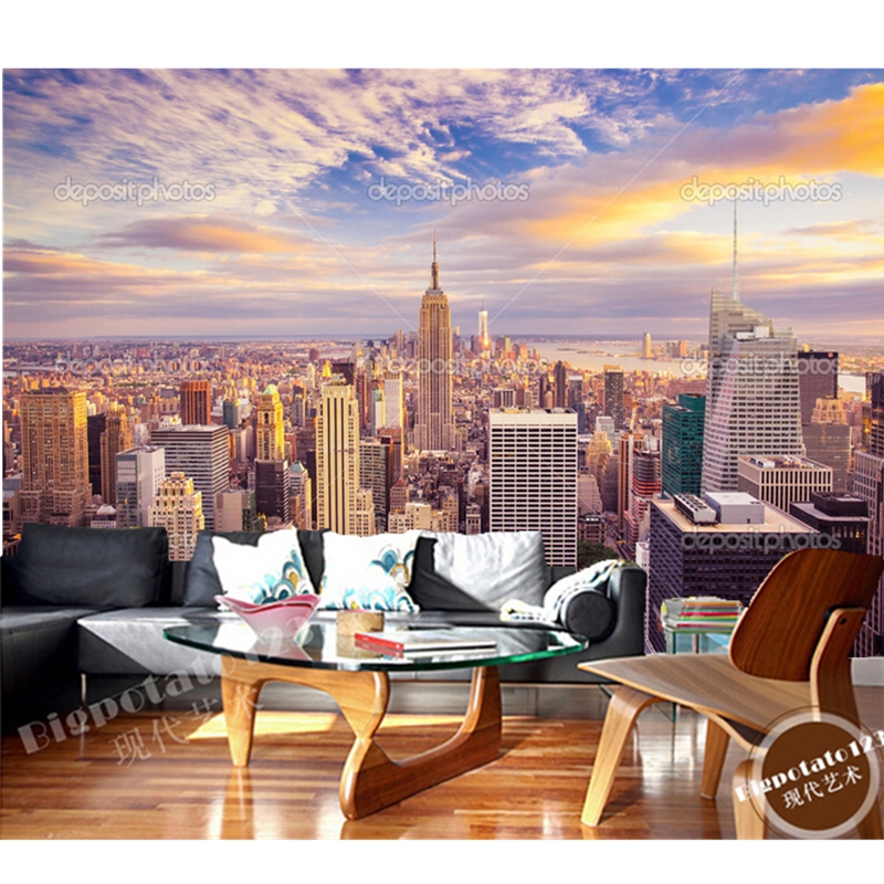 Custom photo wallpaper,New York City Sunshine skyline.3D murals for living room bedroom TV wall waterproof vinyl papel de parede custom photo wallpaper london skyline murals for the sitting room the bedroom tv sofa wall waterproof vinyl papel de parede