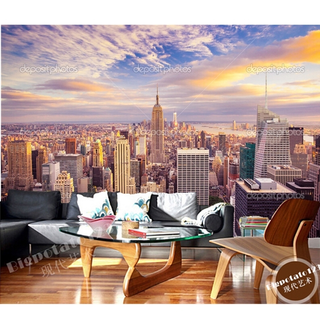Foto personalizzata carta da parati, new york city sole skyline.3D ...