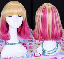 Wholesale heat resistant LY free shipping New wig Cosplay Lolita Gold blonde Pink Short Heat Resistant