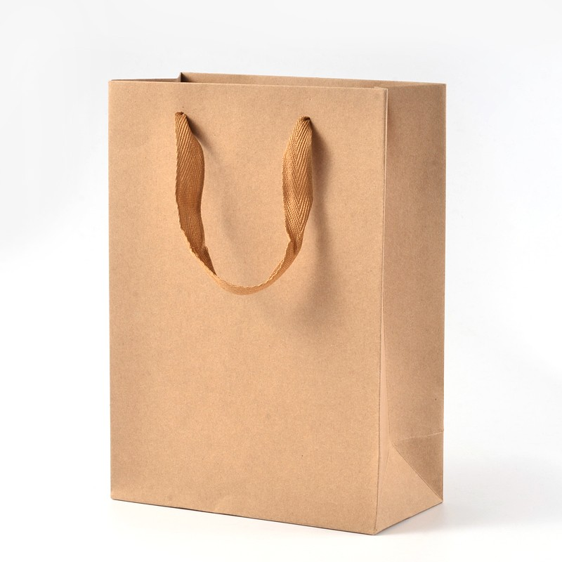 Rectangle Kraft Paper Pouches Gift Shopping Bags With Nylon Thread BurlyWood 16cm 20cm 28cm 33cm