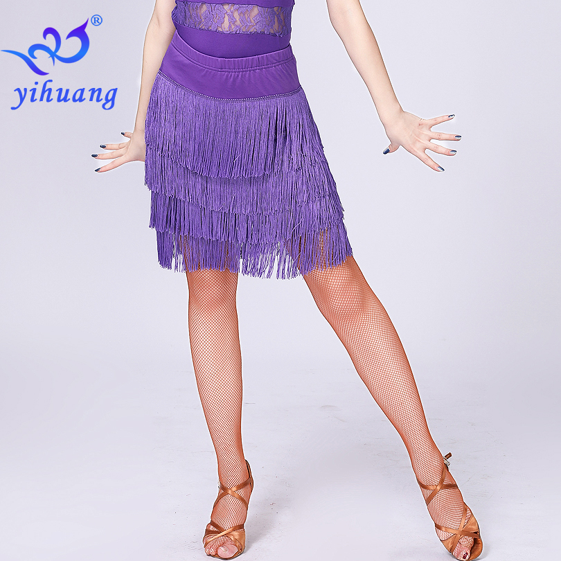 2019 Performance Women Dance Wear Skirt Latin Dance Skirt Tassel Fringe Ballroom Jazz Salsa Cha Cha Tango Charleston Dance Skirt
