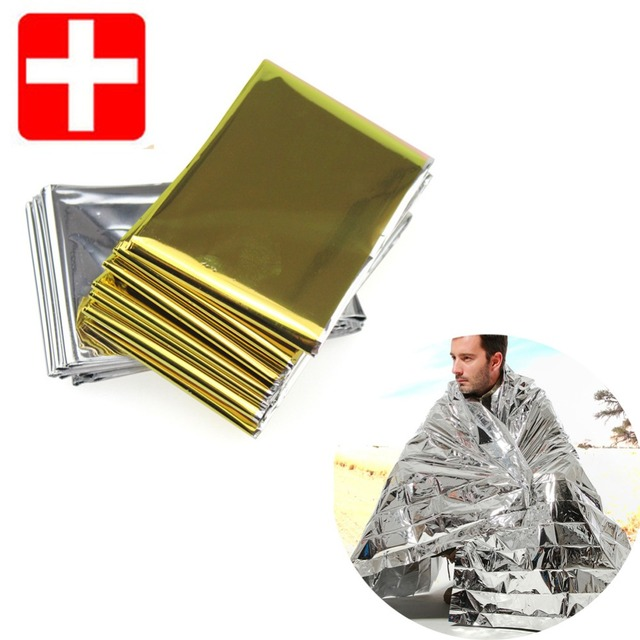 2pc Camping Outdoor Survival Emergency Kit Rescue Blanket Portable First Aid Curtain Emergency Camping Blanket Silver Golden