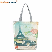 High quality Paris Tower Canvas Tote Casual Beach Bags Women Shopping Bag Handbags