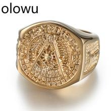 Olowu Лидер продаж Etherial ручной работы мужские масонские кольца из нержавеющей стали золотого цвета кольца для мужчин s Новые Классические хип-хоп кольцо масонов