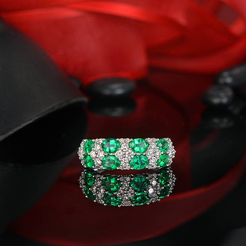 1.42ctw 3X4mm Natural Emerald And 0.63ct Diamond 14K White Gold Engagement Wedding Band