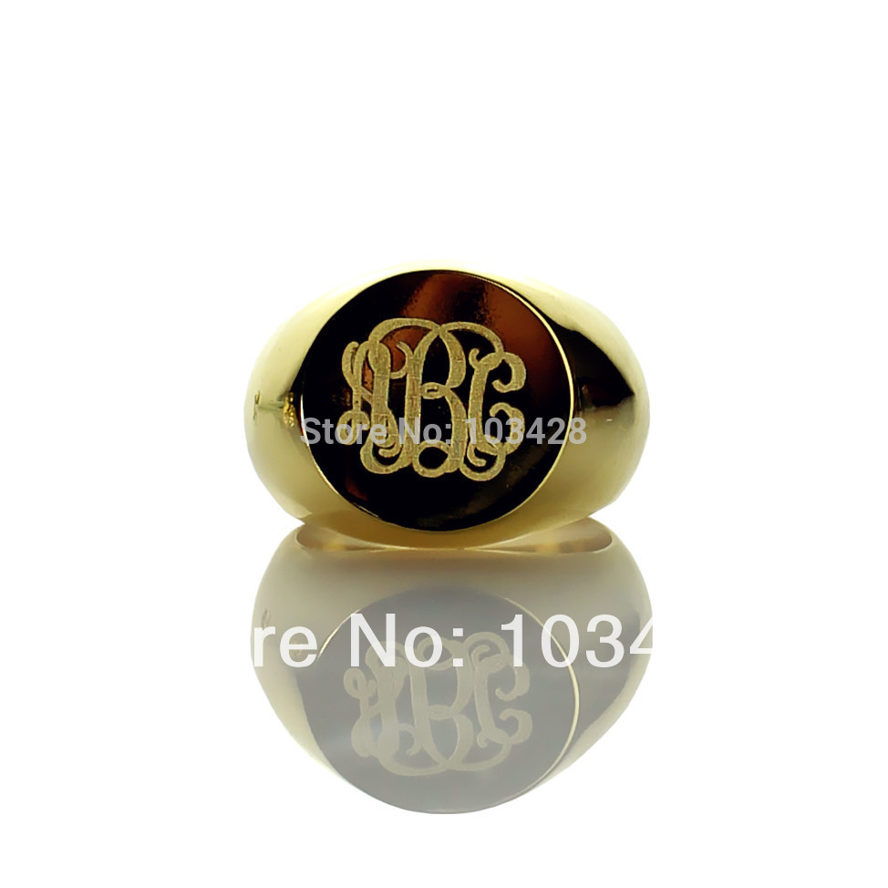 AILIN Personalized Monogram Ring Engraved 3 Initials Gold Color Monogrammed Ring Name Ring faux gem geometric engraved insect ring