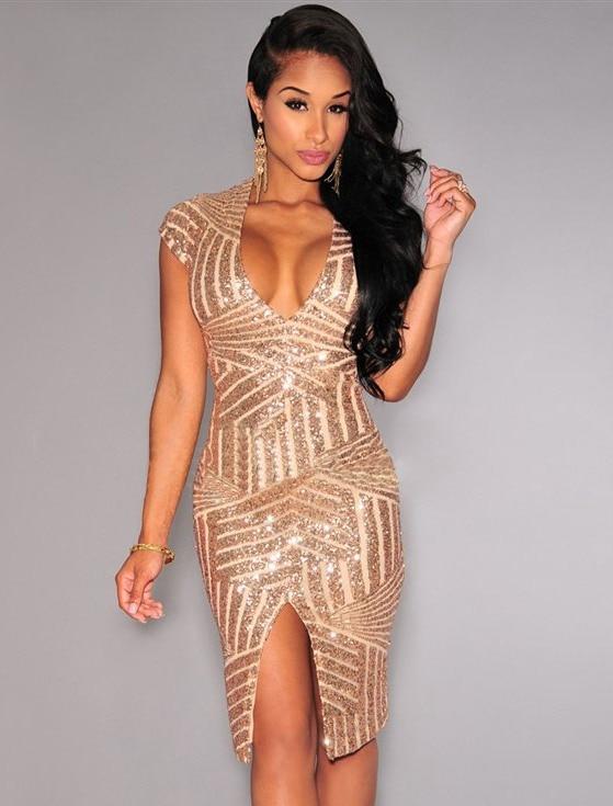 ROH80202 New Women Summer style High Street party dresses Sequins V Neck Nude Dress R80202 Bodycon Dress vestidos de festa