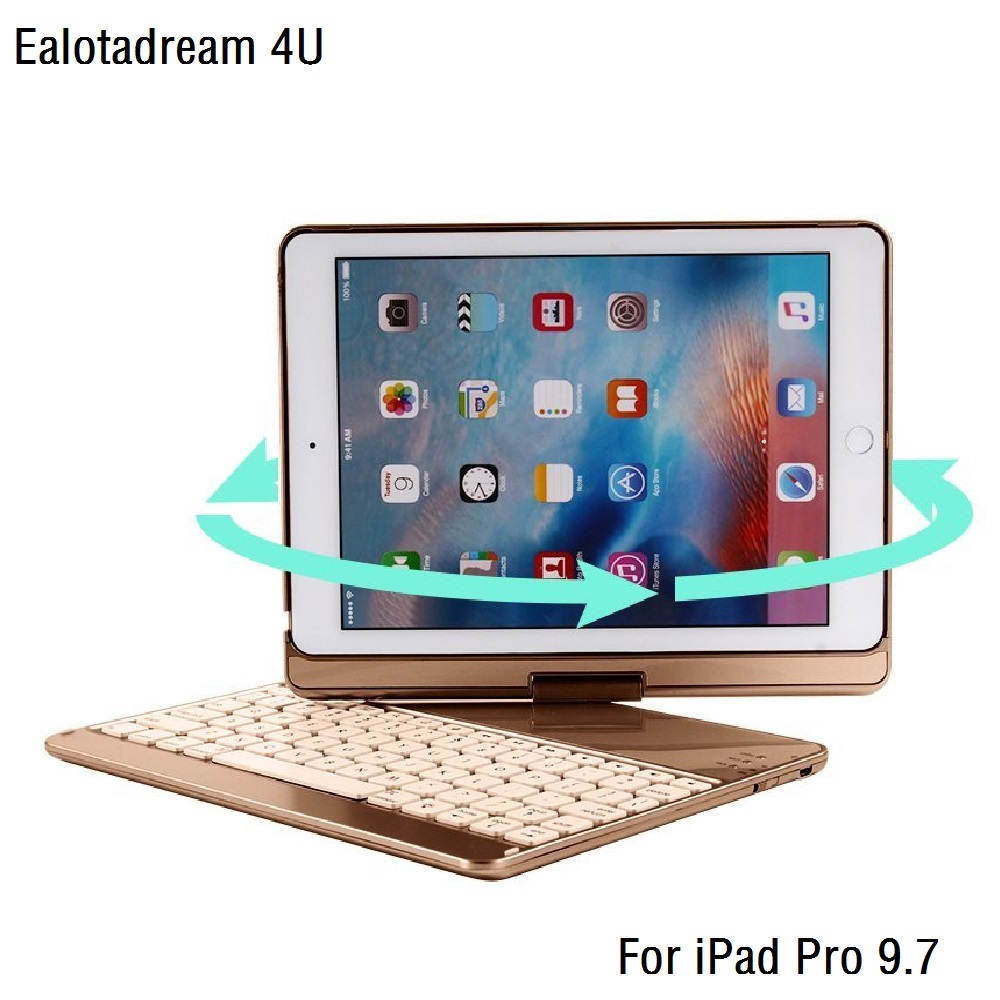 360 Degree Rotation For iPad Pro 9.7 Keyboard Case Wireless Bluetooth LED Backlit Funda for iPad Pro 9.7 Keyboard Cover new laptop keyboard for asus g74 g74sx 04gn562ksp00 1 okno l81sp001 backlit sp spain us layout