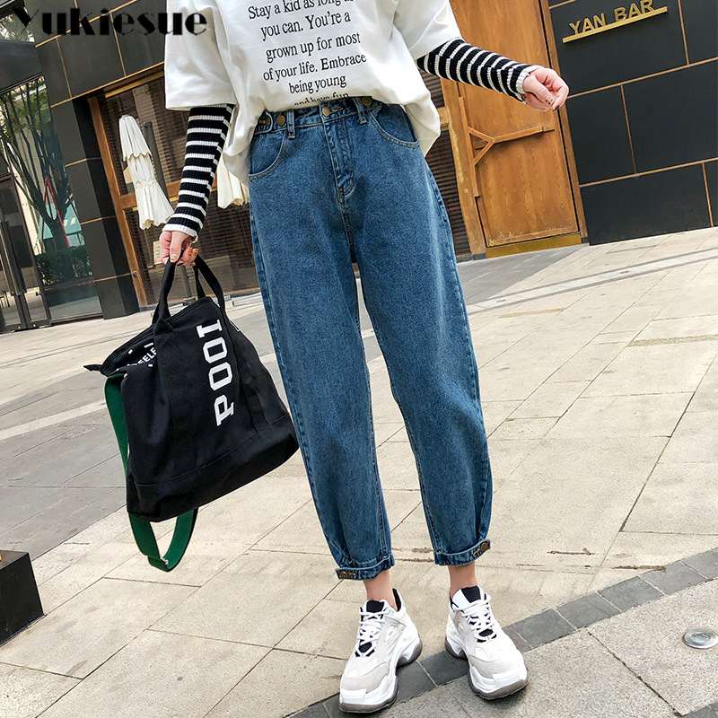 Jean Woman Mom Jeans Pants Boyfriend Jeans For Women With High Waist Loose Push Up Large Size Ladies Jeans Denim Woman 2019