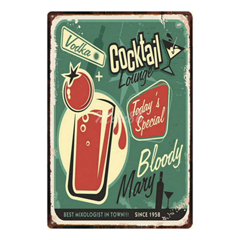 [ Mike86 ] Vodka Cocktail Lounge Metal Plate Hawaii Wall Posters Vintage Tin Sign Antique Souvenirs Festival Gift Dd-1002 image
