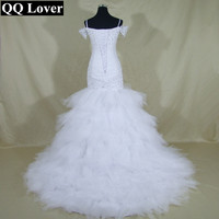 Long Sleeves Mermaid Wedding Dresses Crystal Luxury Tulle Lace Sweetheart Vestidos De Novia Open Back See