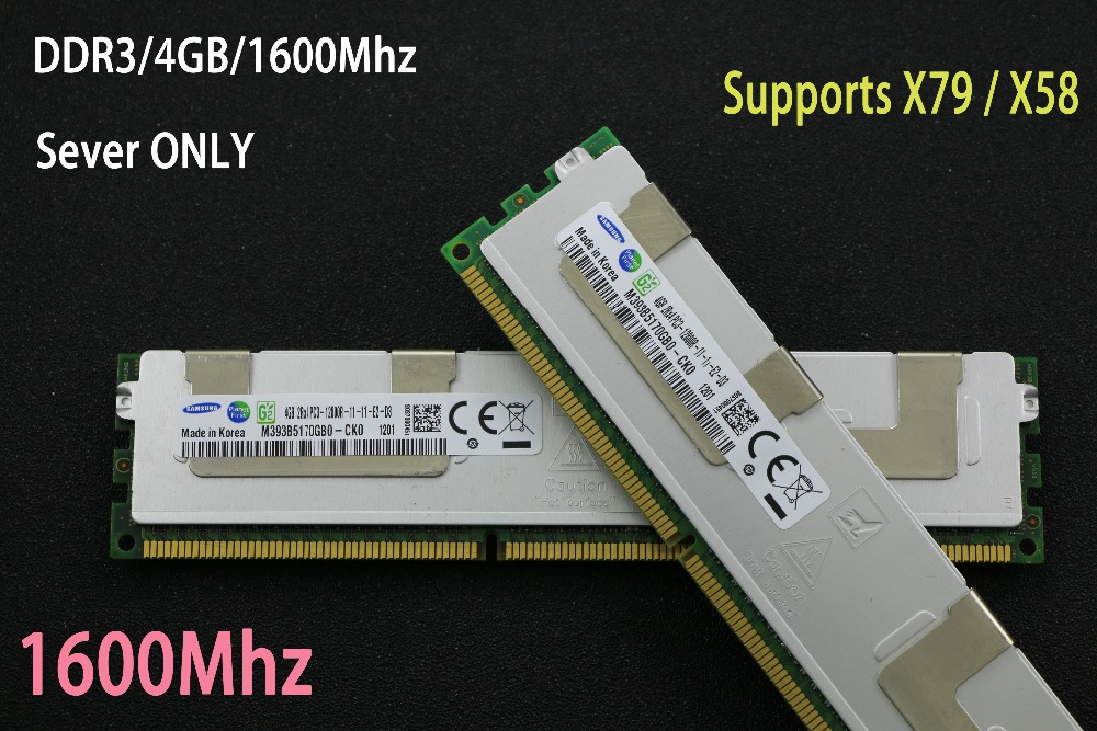 D'origine Samsung 4 gb DDR3 1333 mhz 1600 mhz 1866 mhz 4g 1333 1600 1866 radiateur REG ECC serveur mémoire 8g 16g 8 gb 16 gb RAM x79 x58