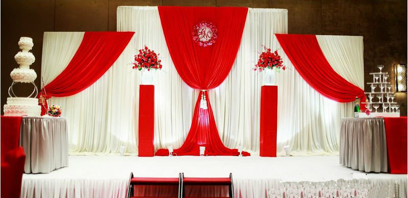 Wedding backdrops curtain with three detachable swag party for Background curtain decoration