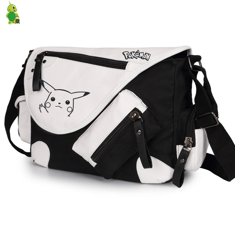 hottest sale price top-rated genuine US $28.56 16% OFF|Cartoon Pokemon Pikachu Messenger Bag Large Shoulder Bags  School Book Bags for Teens Women Men Funny Crossbody Travel Bags-in ...