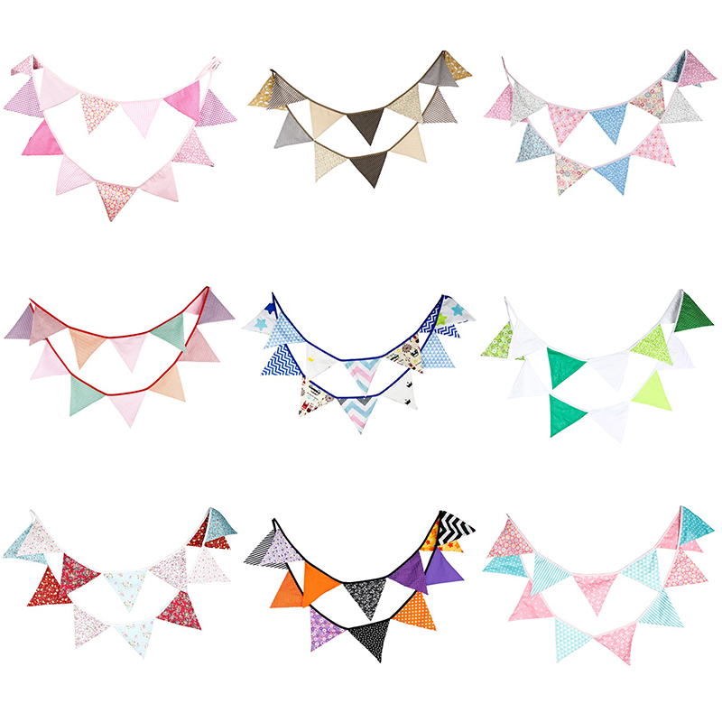 3.2M 12 Flags Cotton Fabric Hanging Banners Bunting for Kids Birthday Party Supplies Wedding Decoration <font><b>Streamers</b></font>