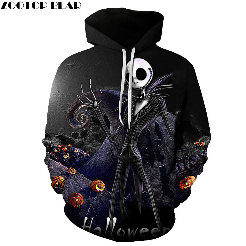 Jack skellington 3D Hoodies Sweatshirts Men Tracksuits Drop Shipping Black Hooded Pullover Brand Hoodie Mens Clothes ZOOTOP BEAR