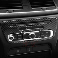 Carbon Fiber For Audi Q3 2013 2017 Center Console multimedia knob Decoration Stickers Trim Frame Covers Car Accessories