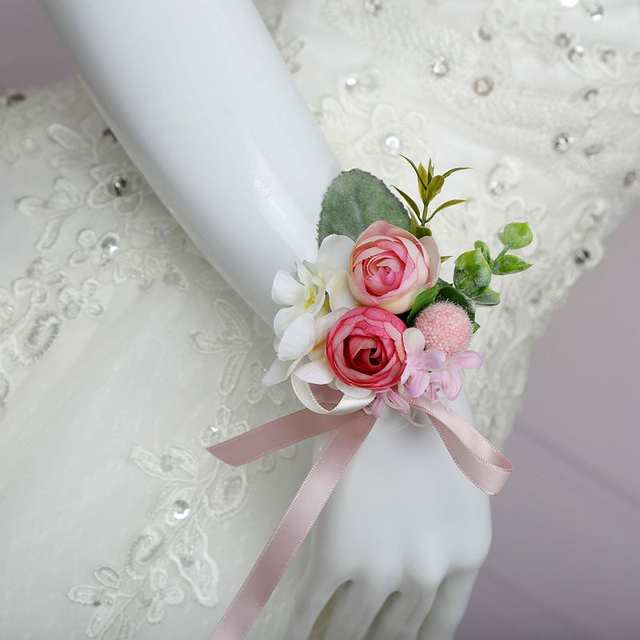 Online Shop Artificial Silk Pink Rose Flower Groom Boutonniere Man