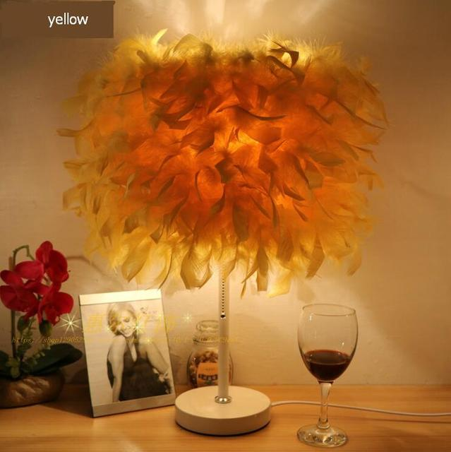 a1 european style feather table lamp wedding celebration new decorative lamp bedroom bedside creative living room - Decorative Lamps For Living Room
