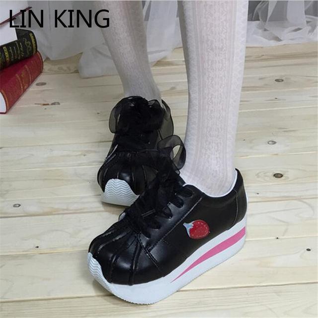 LIN REY Nuevo Estilo Japonés Estudiante Zapatos de Las Mujeres Ocasionales Zapatos de Tacones de Cuña Encaje Up Concha Fresa de Punta Redonda Zapatos de Plataforma