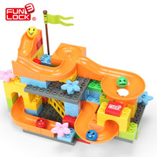 Funlock Duplo Marble Race Run Slide Construction Building Blocks Set for kids Learning Educational Toys Bricks