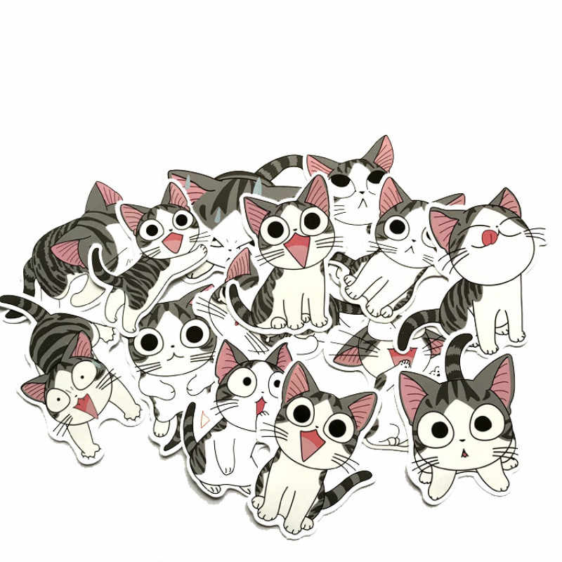 Mignon chat autocollant 14 pièces fille sac autocollant autocollant pour ordinateur portable bon imperméable et collant Anime doux chat paquet autocollant