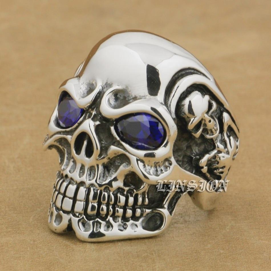 LINSION 925 Sterling Silver Titan Skull Purple CZ Stone Eyes Mens Biker Punk Ring sterling-silver-jewelry 8V505 US Size 7~15 titan euro silver 63ач обр