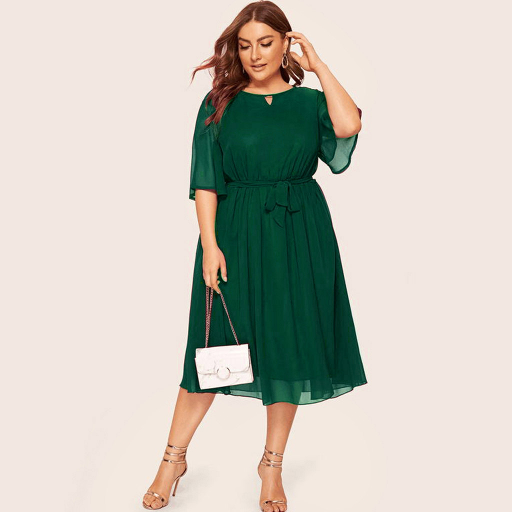 Womail Solid Color Women Plus Size Dress Half Sleeve Loose Chiffon Knee Length O-neck Party Casual Fashion Dress JUNE24 Vestido