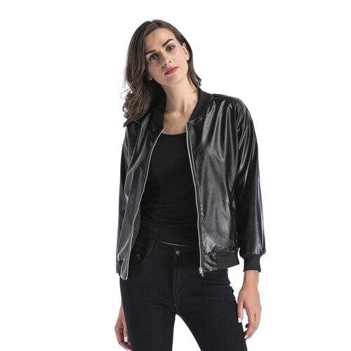 1af50ae6fe2 New PU leather jacket women 2018 Classic Zipper Punk Style Bomber  Motorcycle Jackets Lady Leather Basic Coat Black Outerwear