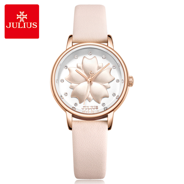 Julius 3D Flower Dial Women Watches Top Brand Luxury Leather Bracelet Watch Fash