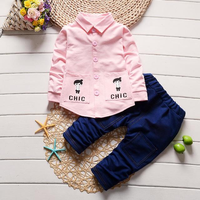 2017 Primavera Do Bebê Meninos Roupas Set 2 Peças camisa Single-breasted Camisa + Calça Infantil Criança Roupa Criança Crianças Roupas Conjunto esporte