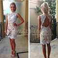 Witte Kanten Cocktail Jurk High Neck Open Back Party Dress White Lace Champagne Chiffon Mermaid Cocktail Dresses 2017 DYQ1178