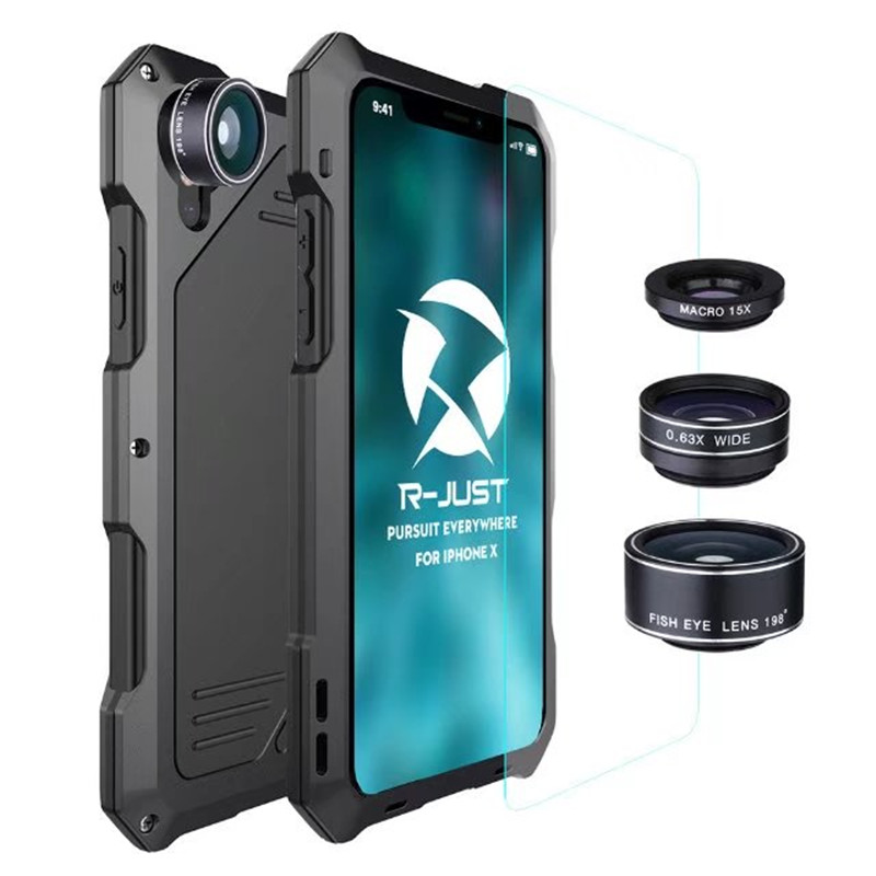 R-JUST waterproof Shockproof case For Apple iPhone X 5.8inch Case Phone Camera Fisheye lens phone bag case for IphoneX Ten 10