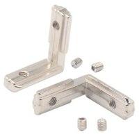 T slot l tipo 90 graus 3030 alumínio conector suporte fixador padrão da ue 30 séries perfil de alumínio peças ângulo direito bracke