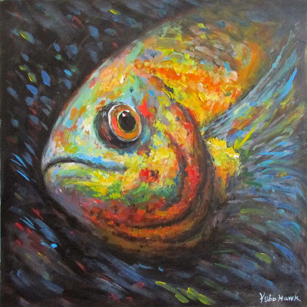 arte original pintura al leo de colores peces abstracto On pintura para estanques de peces